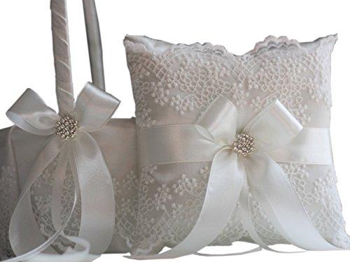 Wedding Flower Girl Basket & Ring Bearer Pillow Set by Alex Emotions (Off White)
