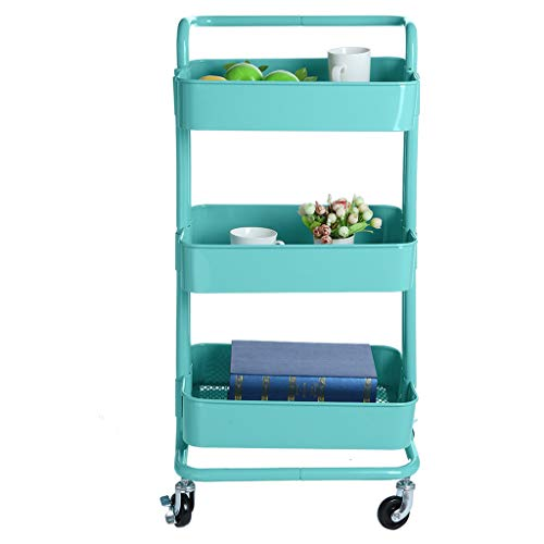 Shmei US Fast Shippment 3-Tier Multifunctional Metal Cart Rolling Storage Shelves with Handles Storage Utility Cart Convenient Move and Easy to Clean (Dish Mount Soap Riser)