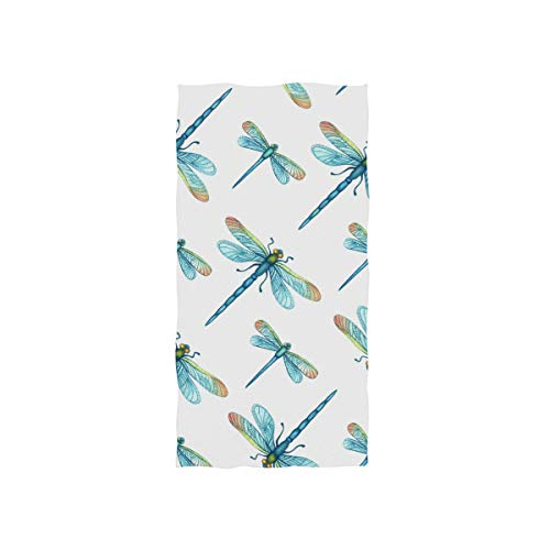 senya Bath Towel Watercolor Dragonflies Soft Hand Towels for Bathroom Spa Gym Sports 30