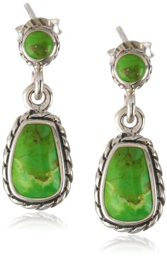 "Barse ""Basics"" Lime Turquoise Post Drop Earrings"