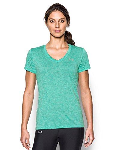 Under Armour Women's Tech V-Neck Twist T-Shirt, Absinthe Green (190)/Metallic Silver, Medium ()