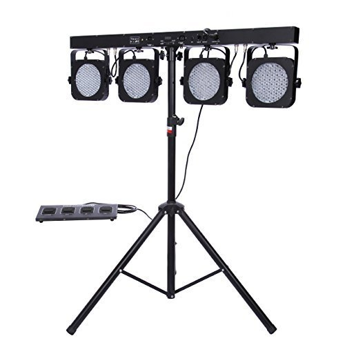 Ridgeyard Christmas Party 4 Bar LED Mobile DJ Stage Wash Light System RGB Par DMX 512 Stage Lighting Sound Activated LED Lights for Stage with Light Fixture Tripod Stand + (Mobile Dj Package)