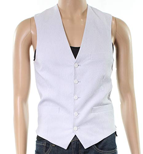 I-N-C Mens Seersucker Five Button Vest Blue XL