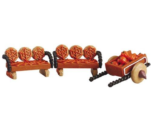 Halloween Wagon - Lemax Halloween Sugar 'N Spice Village Collection Pumpkin Wagon & Benches #52123