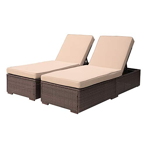 Patiorama Outdoor Patio Chaise Lounge Chair, Adjustable Pool Rattan Chaise Lounge Chair with Cushion, Espresso Brown PE Wicker,Steel Frame, 2 Piece (Chairs Lounge Outdoor Brown)
