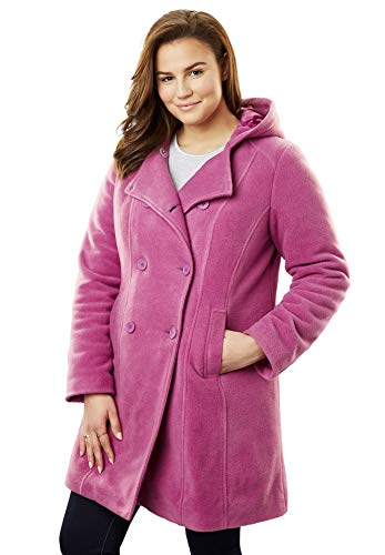 Woman Within Women's Plus Size Double-Breasted Hooded Fleece Peacoat - Magenta Berry, 18 ()