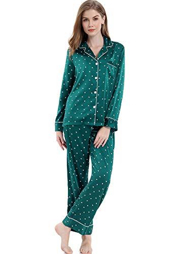 - Serenedelicacy Women's Silky Satin Pajamas, Button Up Long Sleeve PJ Set Sleepwear Loungewear (X-Large / 16-18, Geometric Print Forest Green)