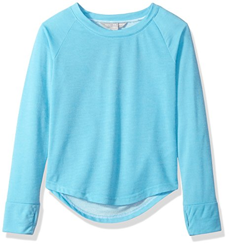 Harmony and Balance Big Girls' French Terry Top, Blue Atoll, 7/8 by Harmony and Balance