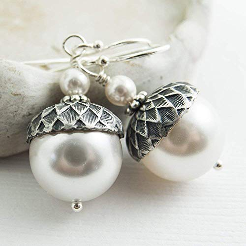Acorn Earrings made with White Crystal Simulated Pearls from Swarovski, Sterling Silver Earwires ()