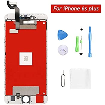 Screen Replacement for iPhone 6s Plus, Screen Replacement LCD Display Touch Screen Digitizer Replacement Full Assembly with Repair Tool Kit (White, ...