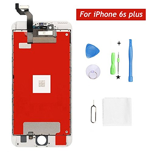 Screen Replacement,For iPhone 6s Plus Screen Replacement LCD Display Touch Screen Digitizer Replacement Full Assembly with Repair Tool Kit (White, IPhone 6s plus)