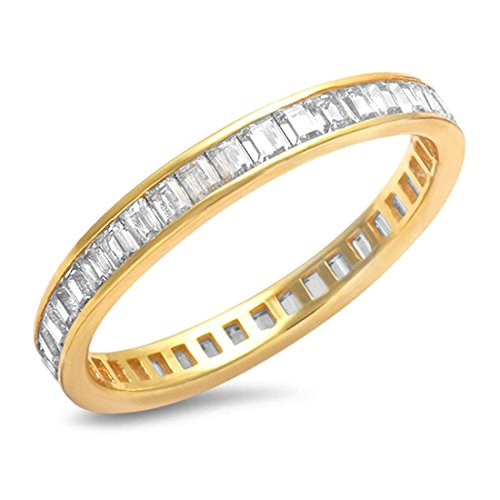 3mm Full Eternity Wedding Band Ring Baguette Cubic Zirconia Yellow Tone Plated 925 Sterling Silver, (Yellow Gold Eternity Wedding Band)
