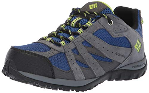 Columbia Boys' Youth Redmond Waterproof Hiking Shoe, Azul, Bright Green, 5 Regular US Big Kid