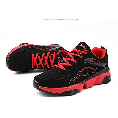 Running Casuales Invierno black De Otoño Hombres Cuero Zapatos Antideslizante Los H Red 43 Zapatillas l wqSZHY1