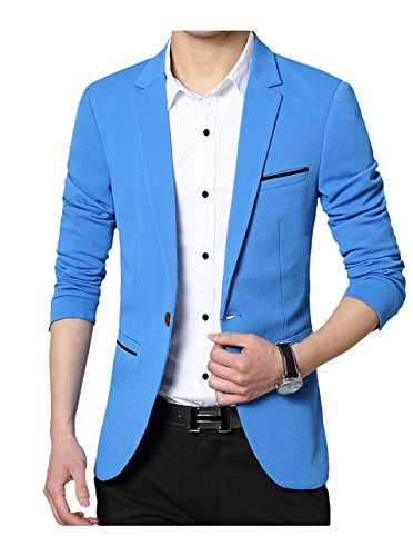 GEEK LIGHTING Fashion Casual Work Blazer Office Jacket for Men Blue US X-Large/Label 5X-Large (Mans Velvet Casual Jacket)