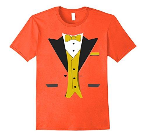 Mens Orange Tuxedo Costumes Tshirt (Mens Tuxedo Halloween Wedding Groom Funny Orange Costume T-shirt XL Orange)