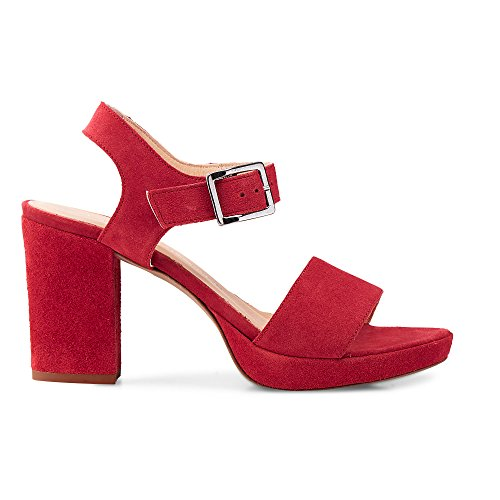 Cox Damen Plateau-Sandalette Rot