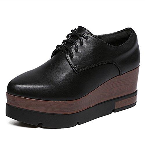 RoseG Zapatos Creepers Cordones Cuña Plataforma Mujer Negro