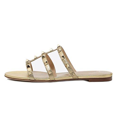 VOCOSI Women's Flat Studs Rockstud Sandals Casual Slipper Sandals Summer Gold With Gold Rivets YiFEt