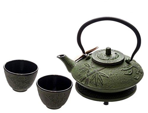 Tea Trivet (New Star International T8090 Cast Iron Bamboo Tea Set with Trivet, 27 Ounce, Green)