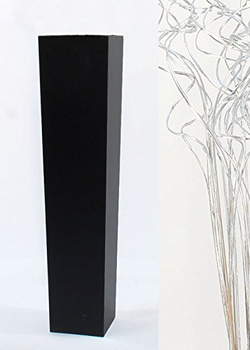 Green Floral Crafts Silver Branches in Slender Tapered Black Floor Vase - 27 in.H x 5.5 in. Opening (Vases Silver Floor)