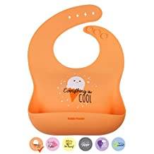 KIDDO FEEDO Silicone Feeding Bib with Wide Pocket - 6 Cute Designs/Colors for Children Available - Soft, Comfortable with Adjustable Strap - Non-Absorbent & Easy Roll Up & Go - BPA Free - Orange