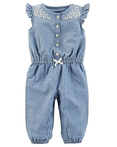 Carter's Baby Girls' Chambray Embroidery Jumpsuit 3 Months ()