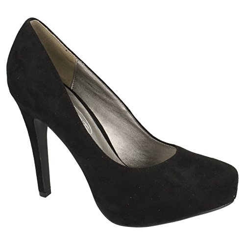 Spot On Womens/Ladies Microfibre High Heel Court Shoes Black GYS2SX