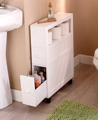 Toilet Paper Shelf White Rolling Slim Bathroom Storage Organizer With 2 Drawers by Wowdeal