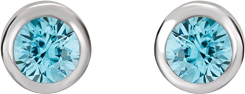 Blue Zircon Stud Earrings, Rhodium-Plated 14k White Gold by The Men's Jewelry Store (for HER)
