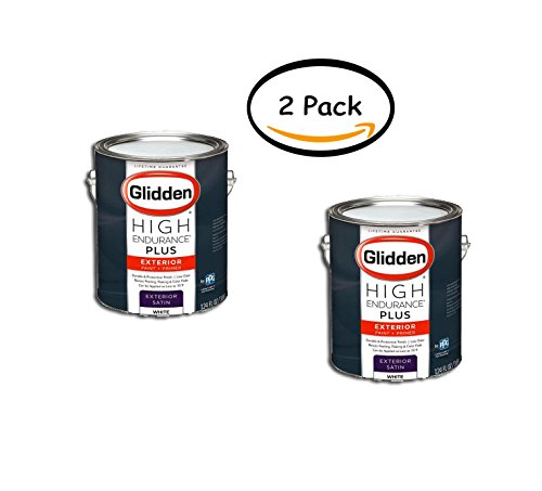 PACK OF 2 - Glidden High Endurance Plus, Exterior Paint and Primer, Satin Finish, Ready Mix White, 1 Gallon by Glidden