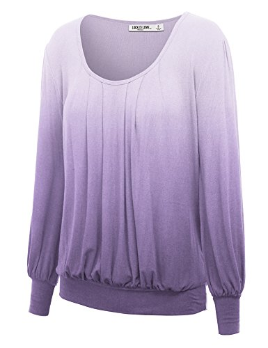 Womens U Neck Sleeve Ombre Pleats product image