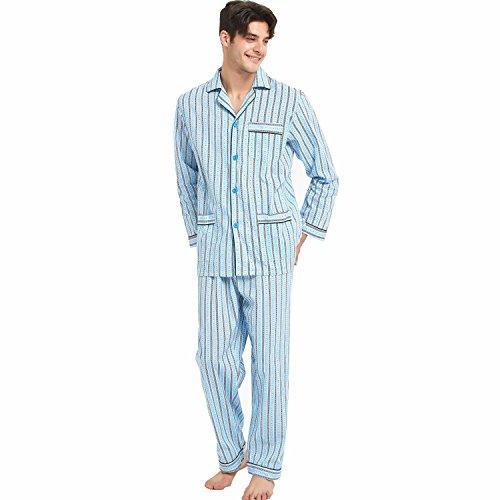 (GLOBAL Mens Pajamas Set, 100% Cotton Woven Drawstring Sleepwear Set with Top and Pants/Bottoms)