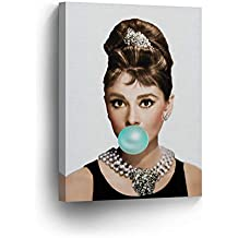 Audrey Hepburn Bubble Gum Chewing Gum Canvas Print Home Decor/Iconic Wall Art/Gallery Wrapped Canvas Art Stretched/Ready to Hang (12 x 8)