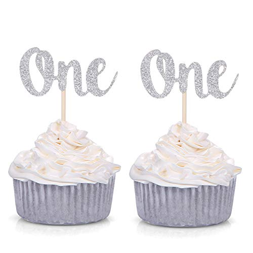 Set of 24 Silver Glitter Number One Cupcake Toppers Kids' First Birthday Party Decors