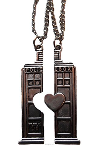 Doctor Who Police Box Tardis BFF Heart Necklace Set of 2 Split Heart Tardis Pendants