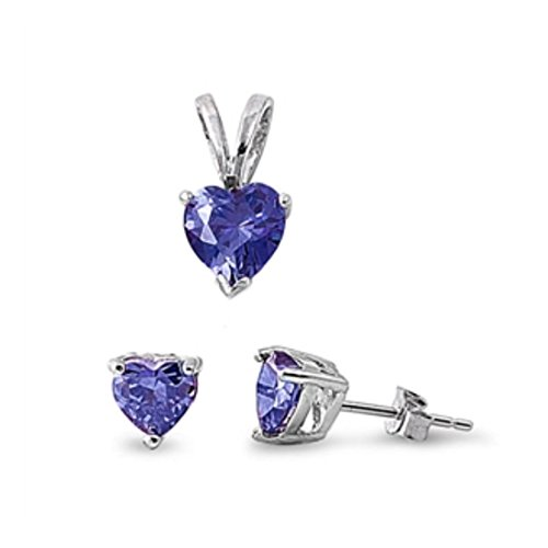 (Solitaire Jewelry Set Pendant Stud Earring Heart Shape Simulated Blue Tanzanite 925 Sterling Silver)