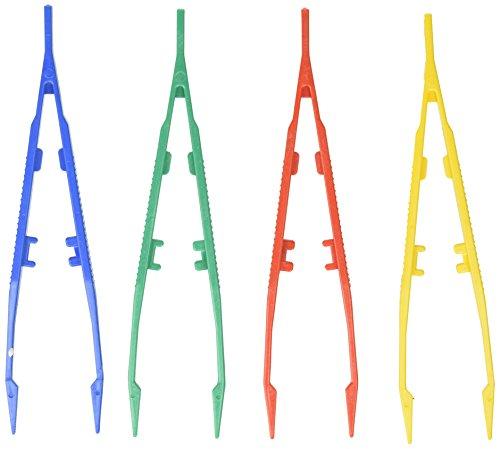 (SE 365PT12 Assorted Color Lightweight Plastic Tweezers Set (12 PC.))