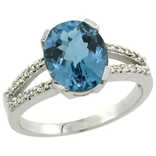 Sterling Silver Diamond Halo Natural London Blue Topaz Ring Oval 10x8mm, 3/8 inch wide, size 8.5 by Sabrina Silver