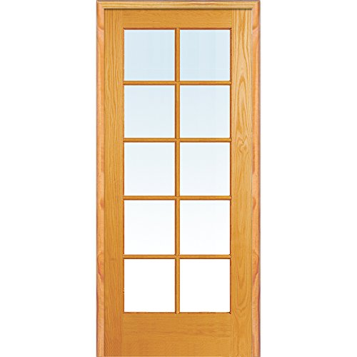 y ZA19938R Unfinished Pine Wood 10 Lite Clear Glass, Right Hand Prehung Interior Door, 36