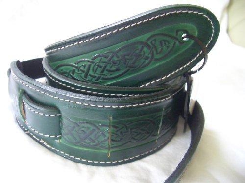Green Celtic Design Real Leather Guitar Strap