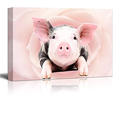 Canvas Print Wall Art - Little Pink Pig on Floral Background - Gallery Wrap Modern Home Art | Ready to Hang - 12x18 inches