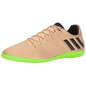 adidas Men's Messi 16.3 Indoor Soccer Shoe, Copper Metallic/Black/Solar Green, (10.5 M US)