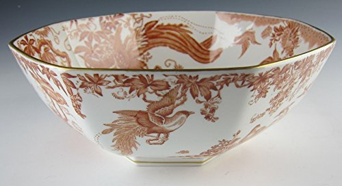 Royal Crown Derby China RED AVES Octagonal Vegetable Bowl EXCELLENT (Royal Antique Derby Crown)