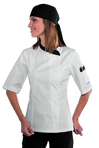 S Gr Isacco 100 Manica Lady 190 nero Tessuto Antipanico Bianco 26098 Chef Cotone Giacca Bianco Bottoni Lunga m² UWnC4xWR