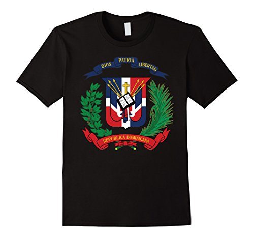 Dominican Coat Of Arms - Mens Dominican Republic Coat Of Arms T Shirt National Emblem Large Black