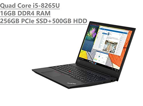 2019 Lenovo Thinkpad E590 15.6″ HD Business Laptop (Intel Quad Core i5-8265U, 16GB DDR4 RAM, Toshiba 256GB PCIe NVMe SSD + 500GB HDD) Type-C, HDMI, Ethernet, Webcam, Windows 10 Pro