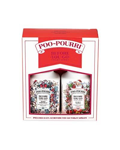 Poo-Pourri Before-You-Go Toilet Spray Holiday Set of 2, 2 oz Bottles, Secret Santa & Merry Spritzmas Scents