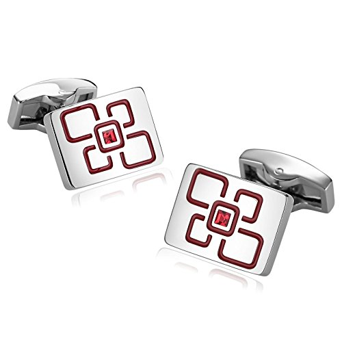 Aokarry Cufflinks for Men Suitable for Wedding Anniversary Stainless Steel Square Lattice Zirconia Rectangle Cuff Links Red