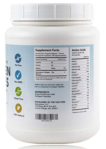 Amandean Hydrolyzed Collagen Peptides Powder (XL 2.2lbs) | Grass-Fed | Paleo & Keto Friendly | Pure Collagen Protein Hydrolysate | Unflavored, Non-GMO, Gluten Free (Packaging May Vary)